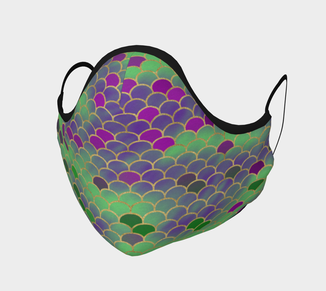 Green and Purple Mermaid Scales Face Covering preview