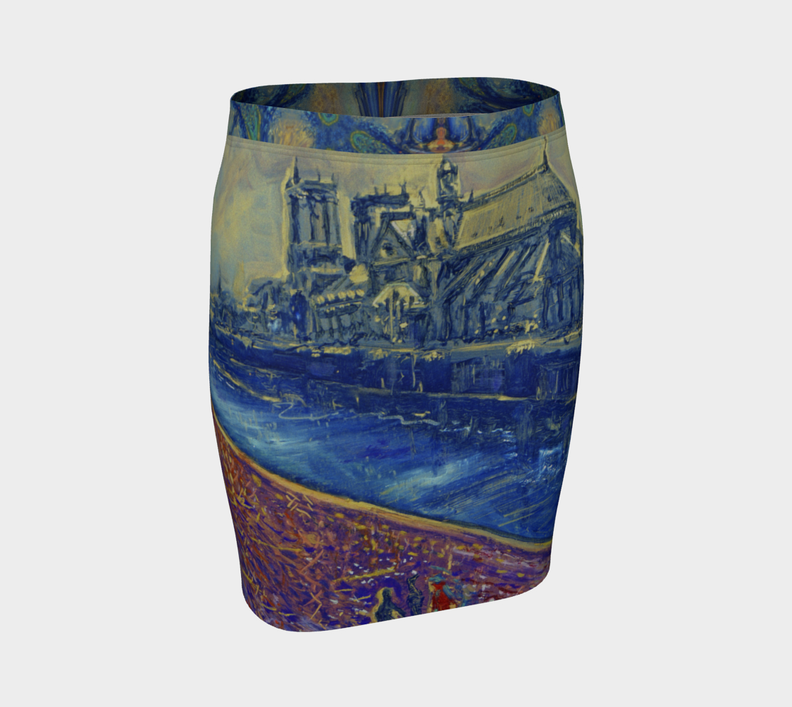 """""""Notre Dame Tribute: 4-15-19 by Lowell S.V. Devin"""" / Commemorative Fitted Skirt preview"""