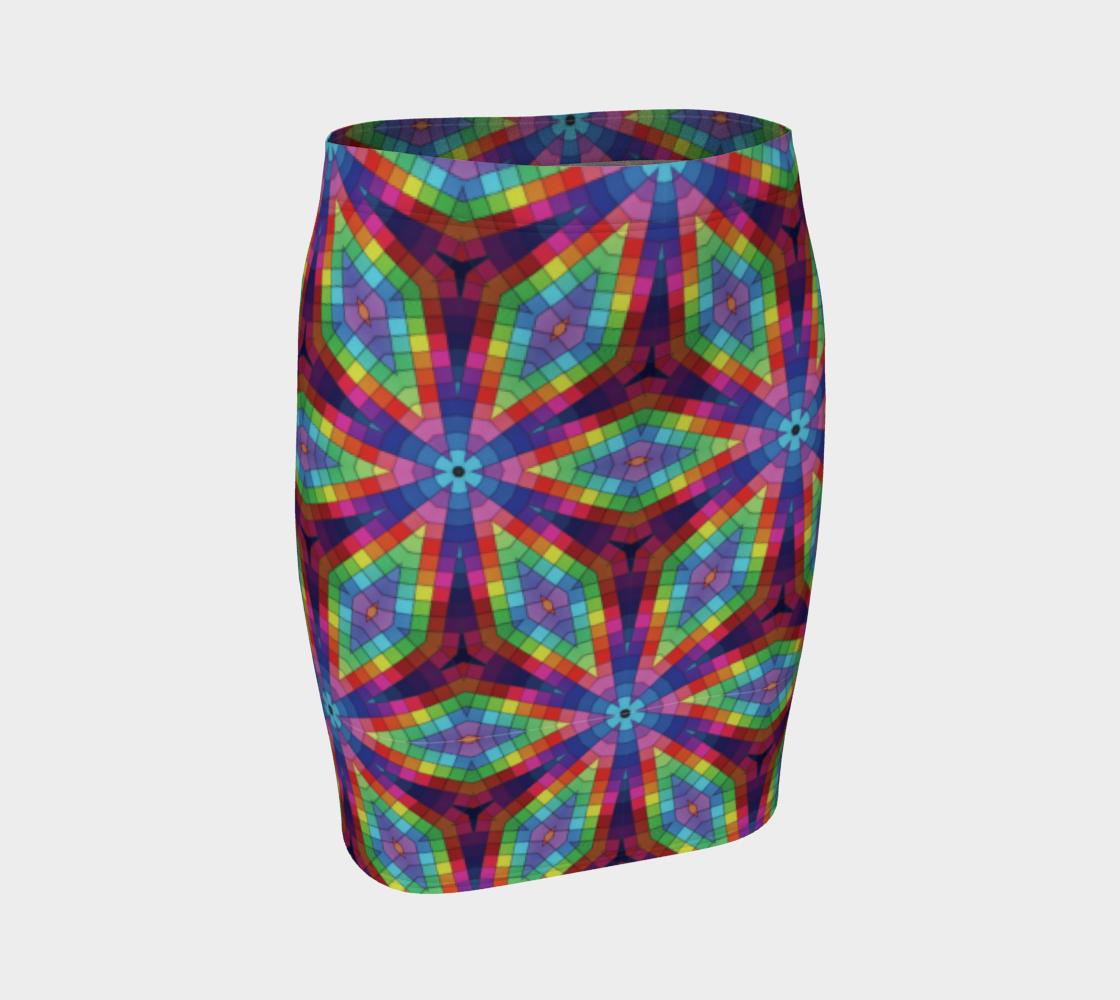 Aperçu de Rainbow Kaleidoscope Fitted Skirt