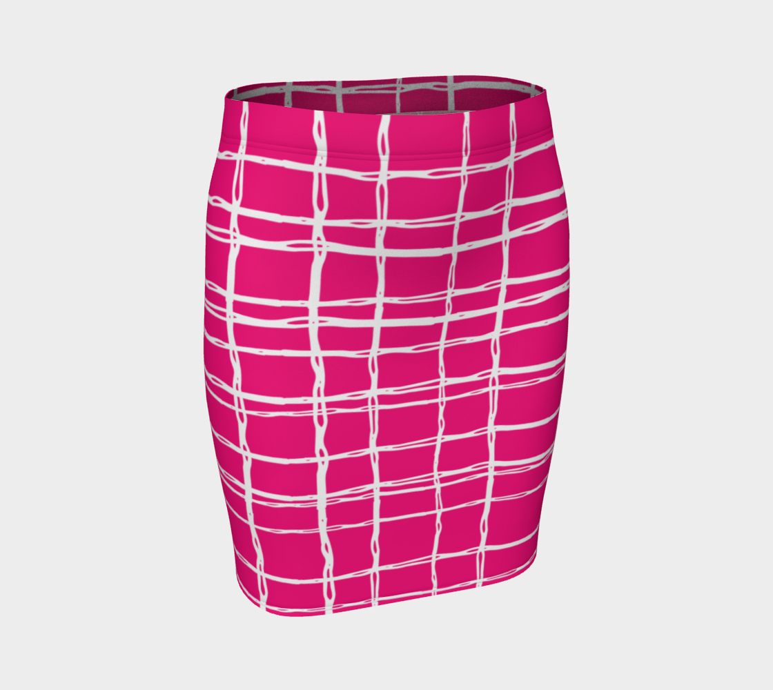 Pink and White Geometric Line Pattern Fitted Skirt preview