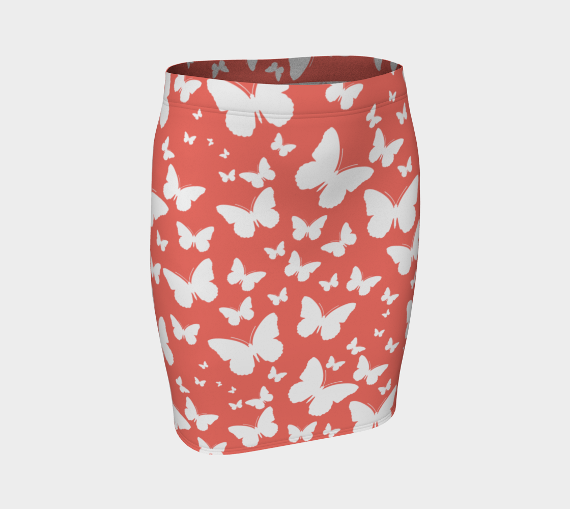 Butterflies in Coral and White Fitted Skirt preview