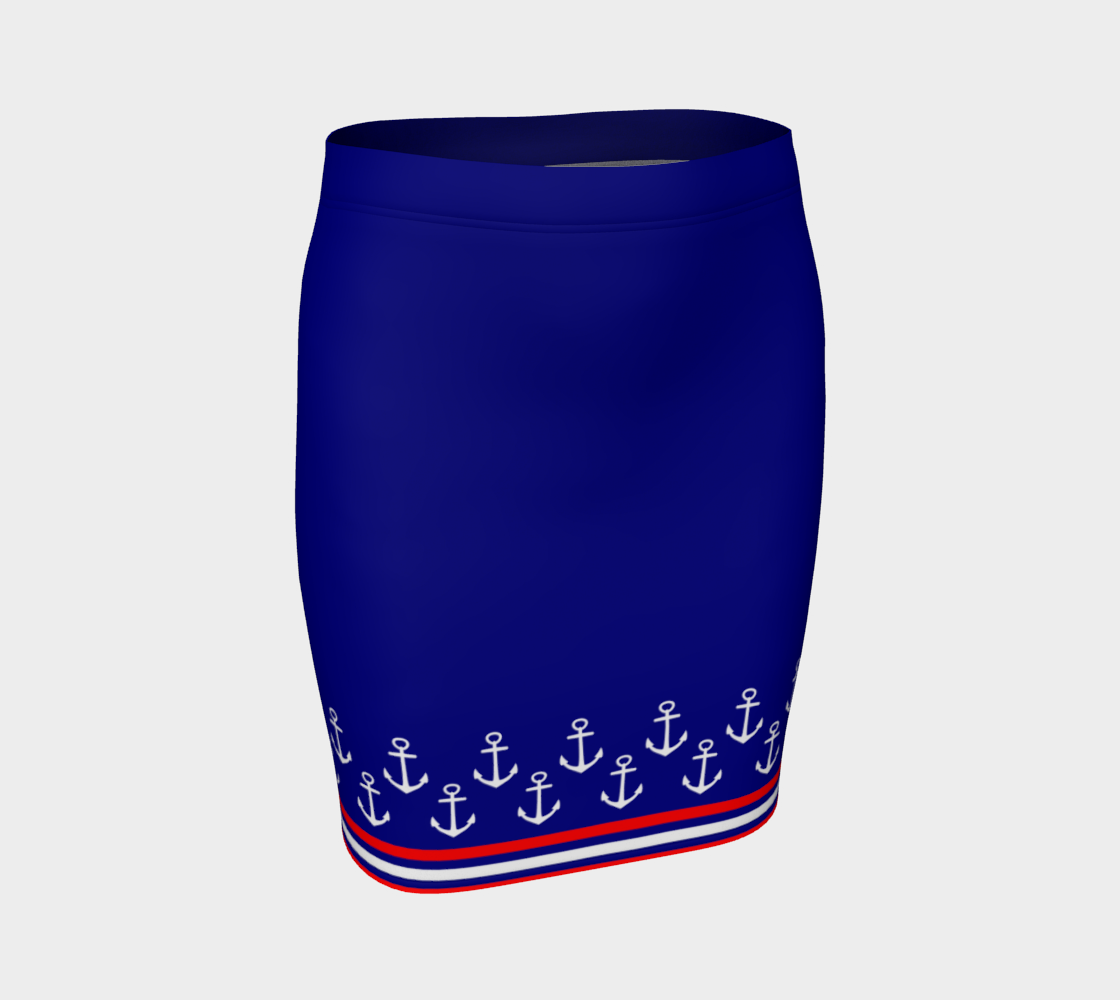 Blue and Red Nautical Stripe Anchor Fitted Skirt preview