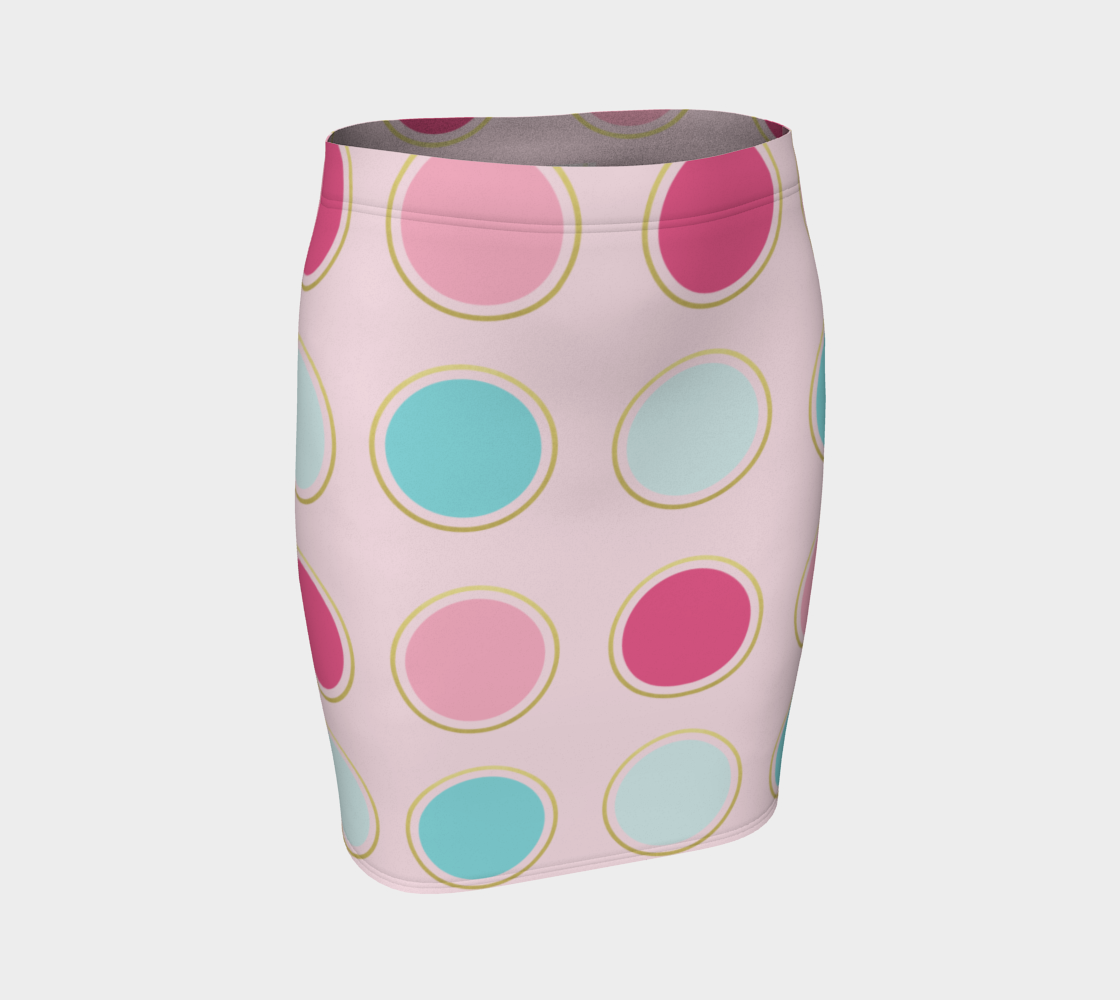 Pink and Teal Polka Dot Fitted Skirt preview