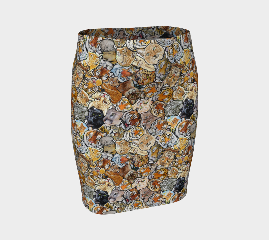 Big Cat Collage - fitted skirt preview