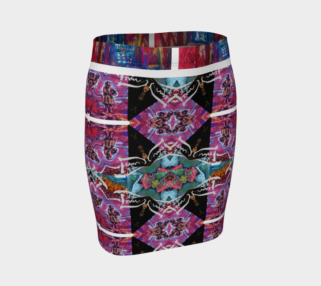 Devin Abstract-Avatar Fitted Vase Skirt preview