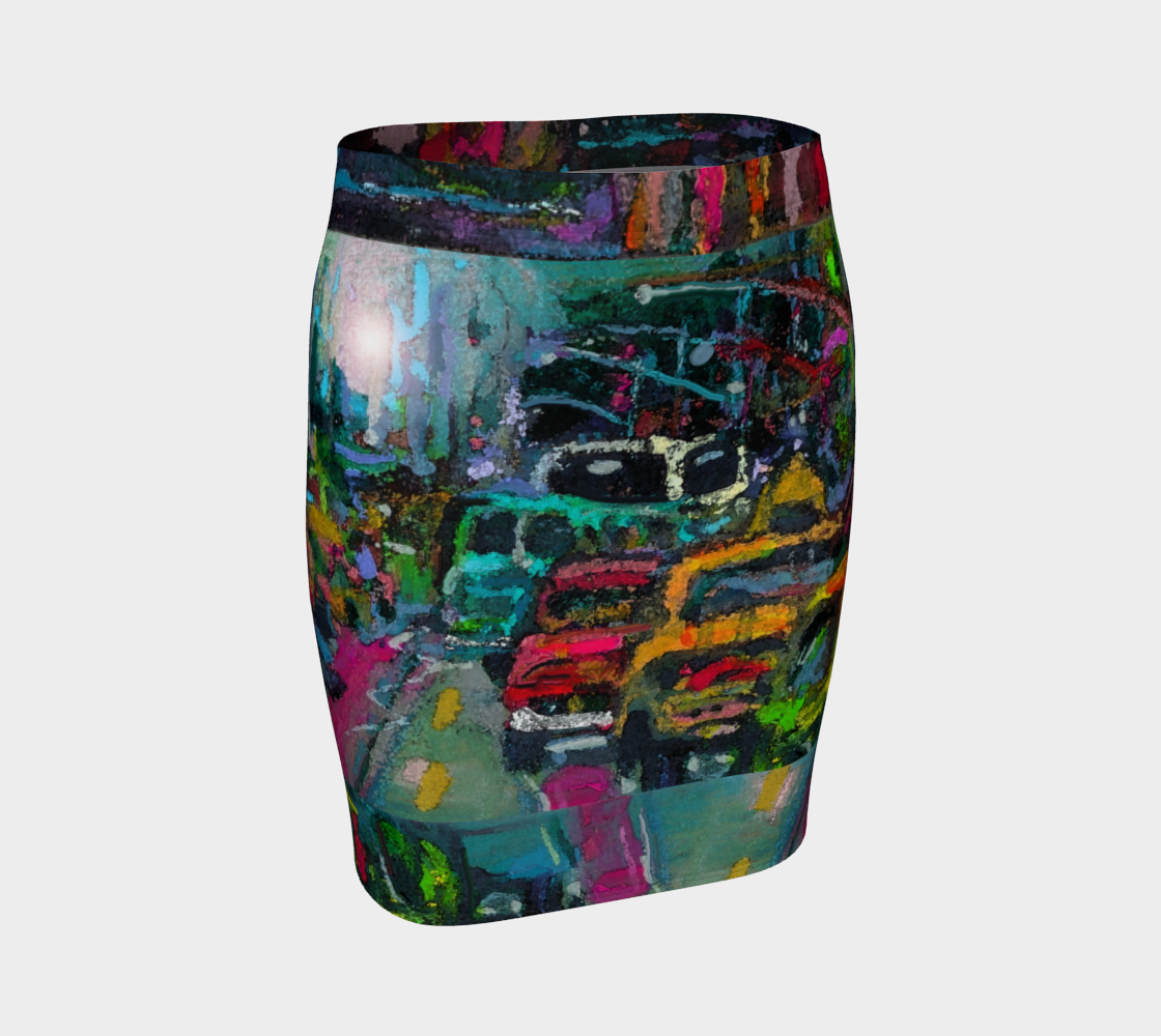 Traffic Jam Rush Hour Fitted Skirt preview