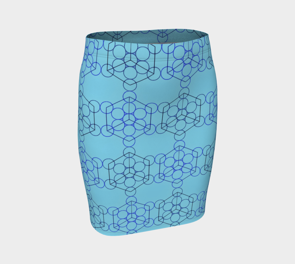Geometric Tiling Blue Fitted Skirt preview