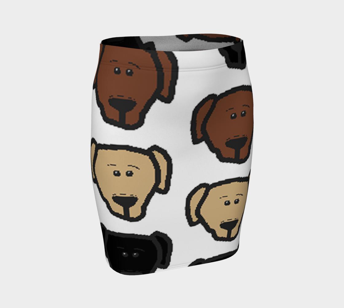 Labrador Retriever all 3 colors cartoon heads fitted skirt preview