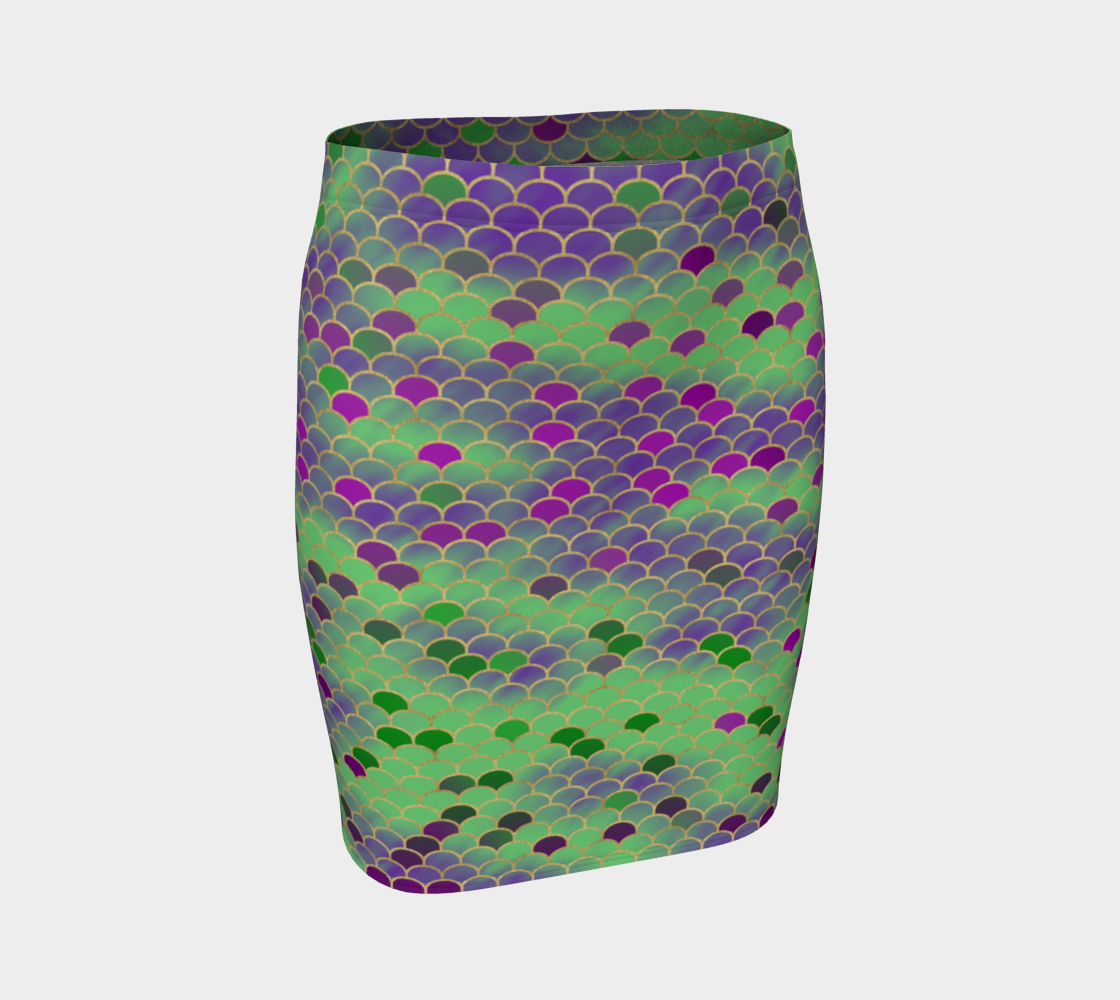 Green and Purple Mermaid Scales Fitted Skirt preview