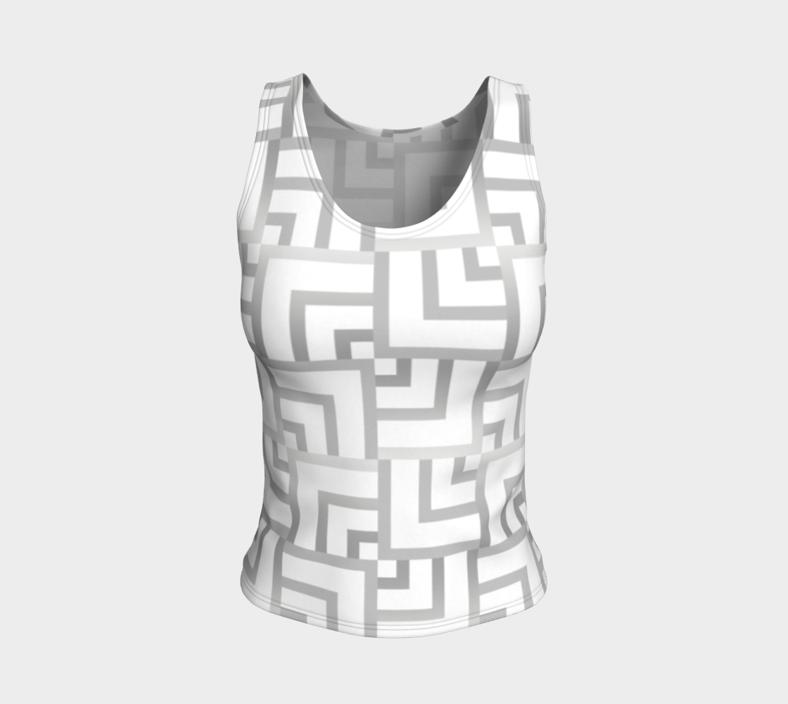 White and Silver Squares Fitted Tank Top preview
