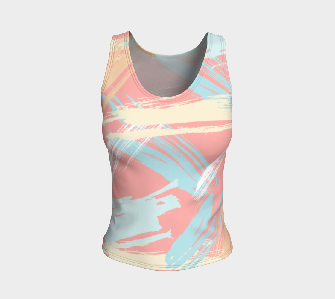 Pastel Abstract Brush Stroke Fitted Tank Tops preview