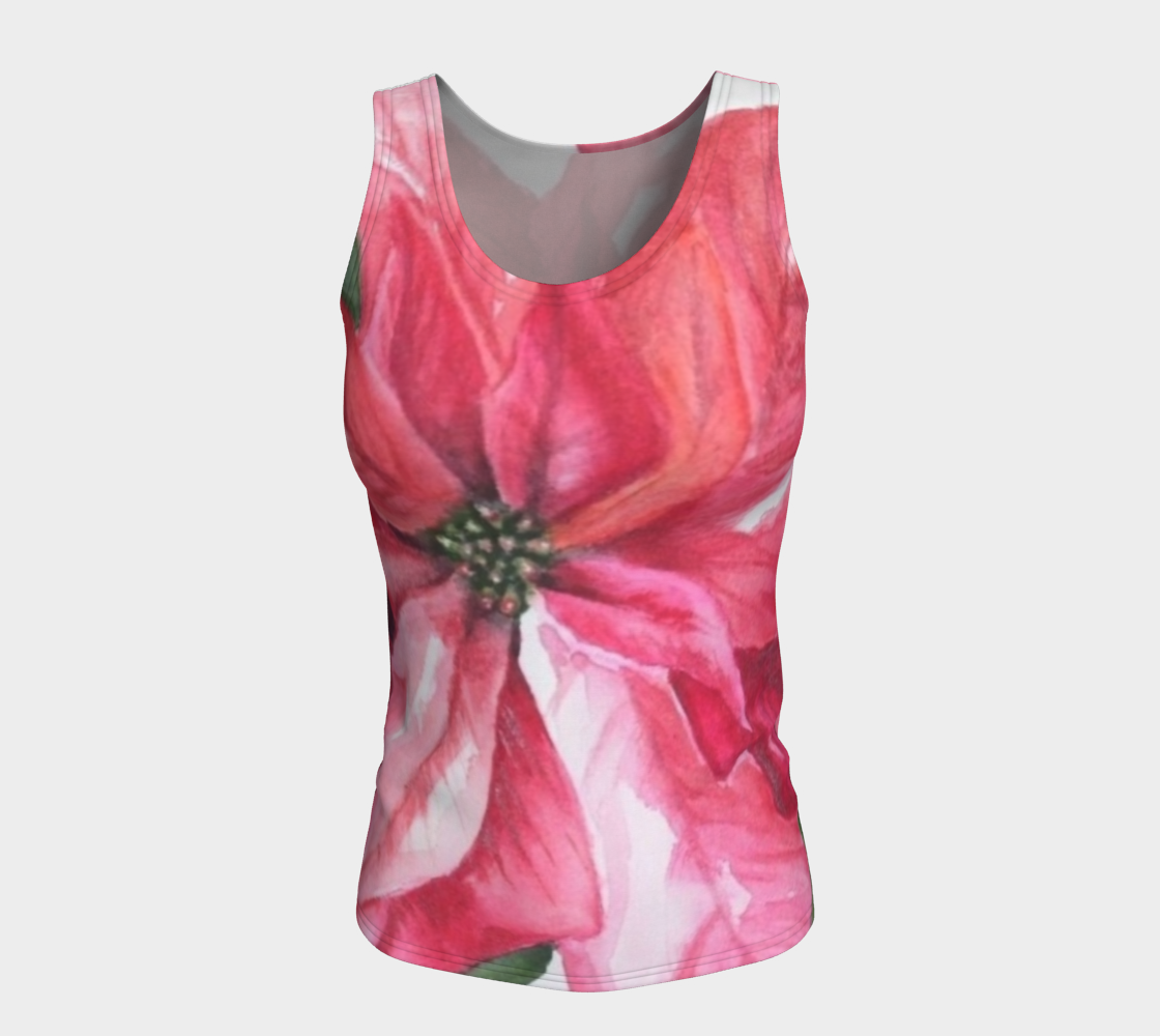 Red Poinsettia Fitted Tank Top preview #5