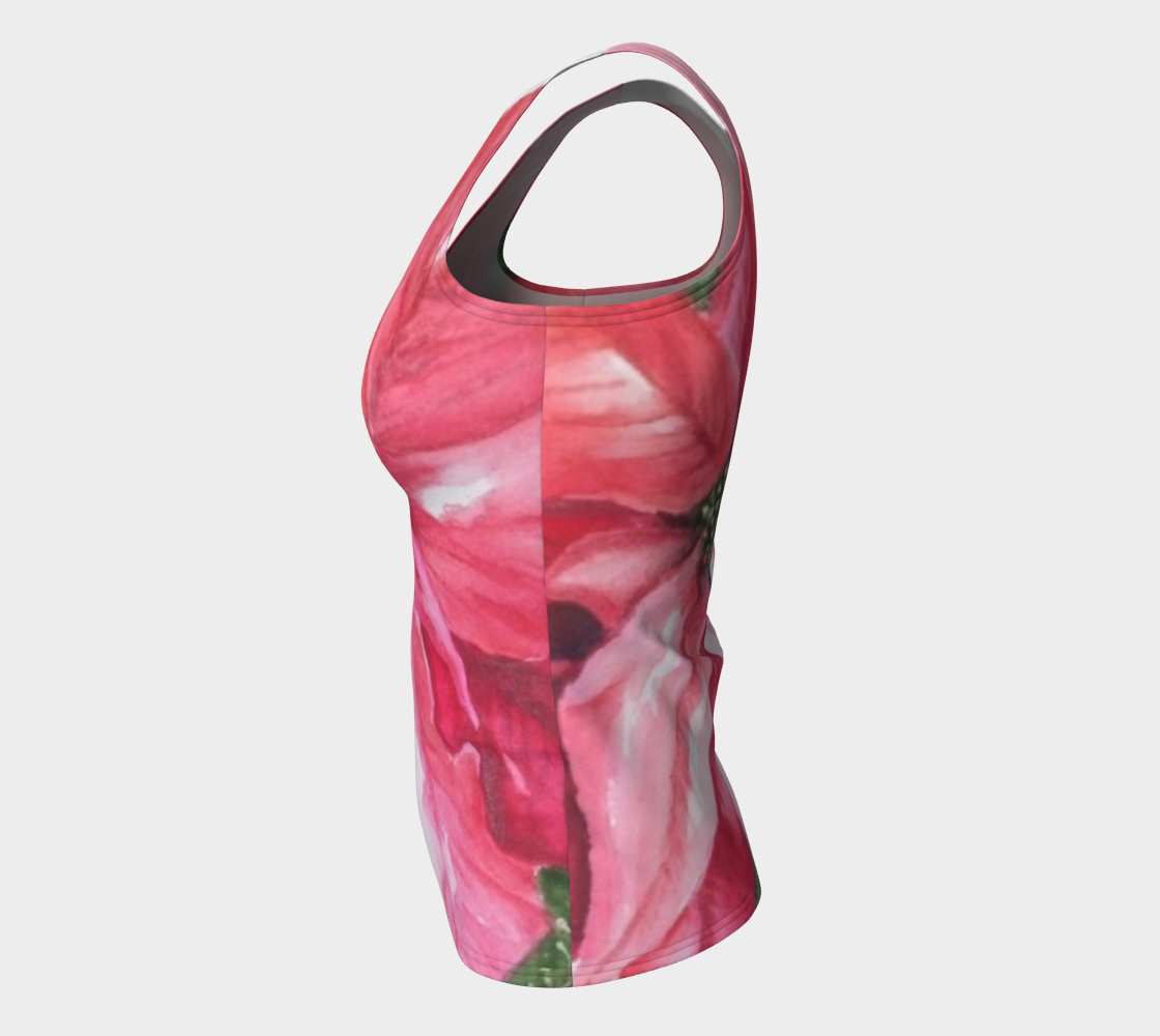 Red Poinsettia Fitted Tank Top preview #7