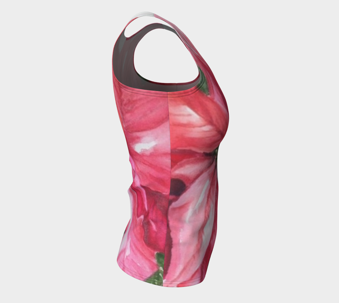 Red Poinsettia Fitted Tank Top preview #8