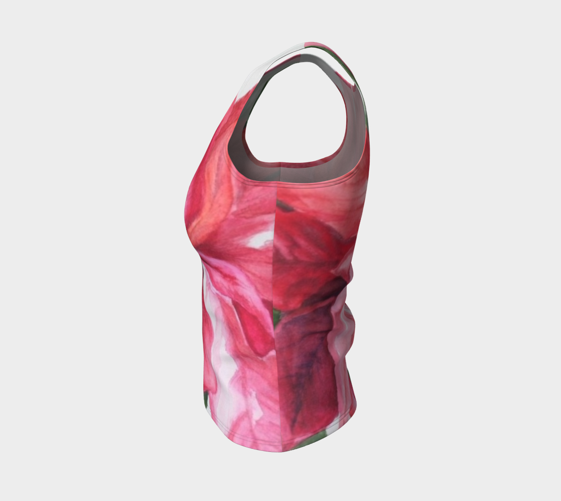 Red Poinsettia Fitted Tank Top preview #3