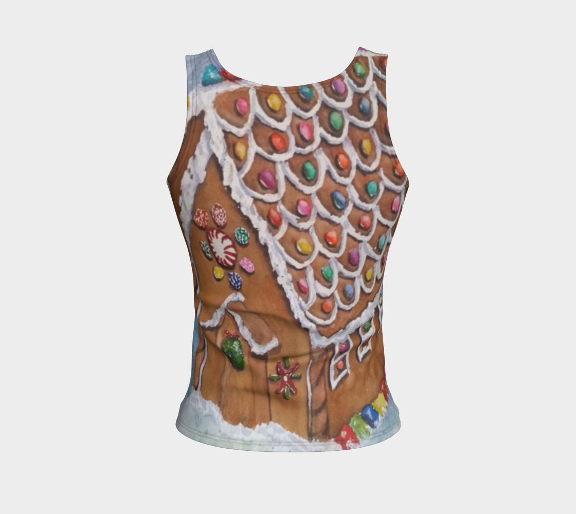 Gingerbread House Fitted Tank Top preview #2