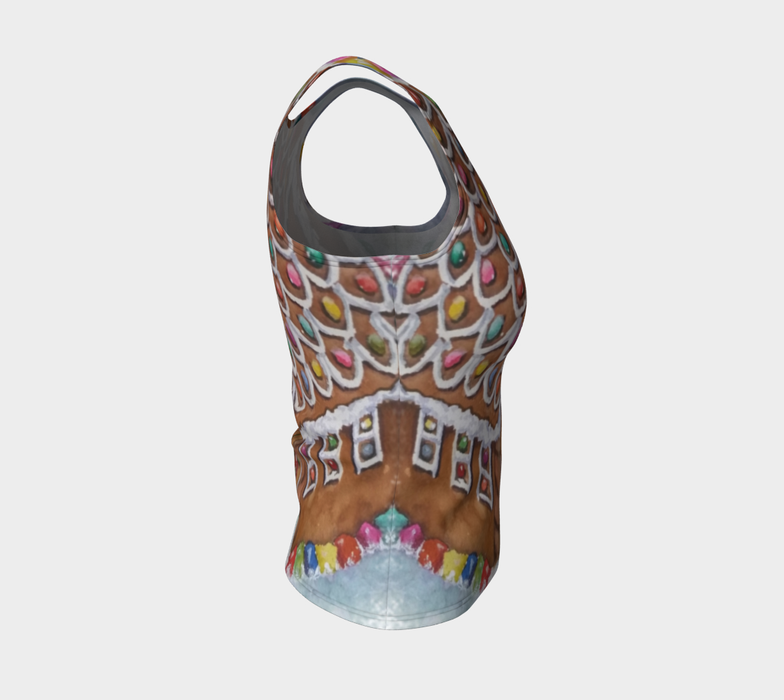 Gingerbread House Fitted Tank Top preview #4
