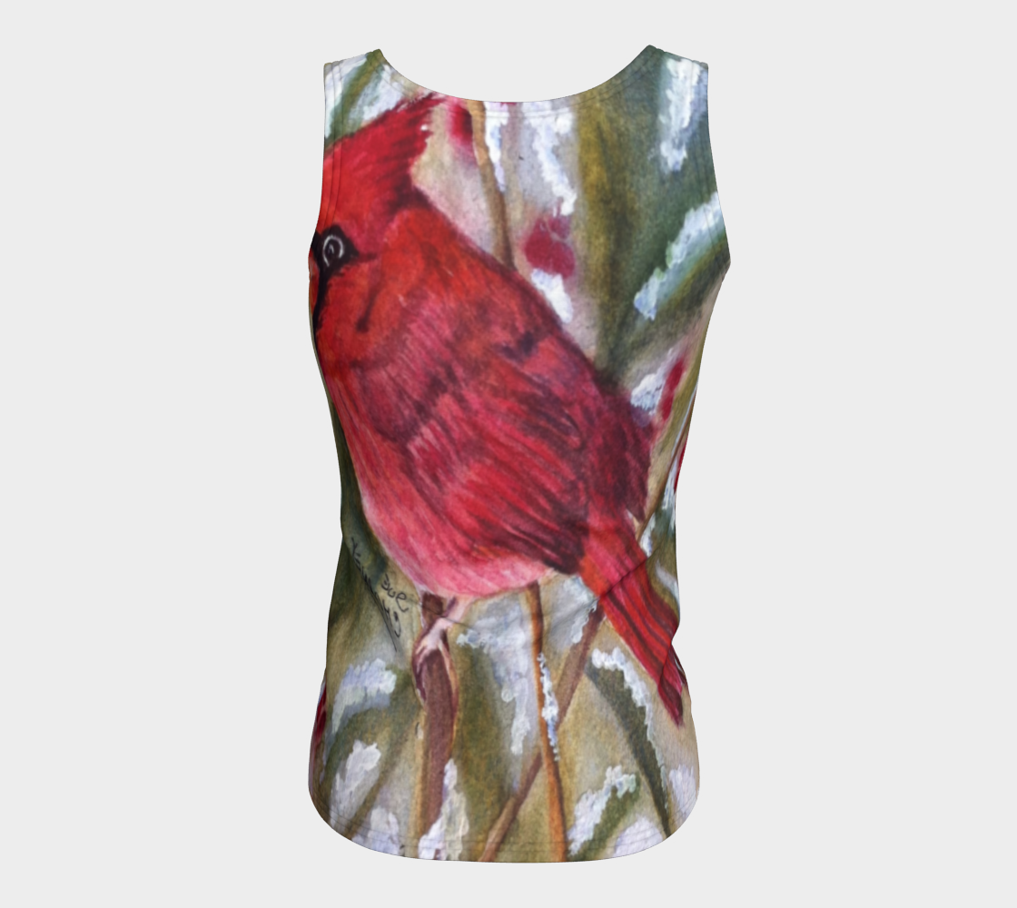 Red Cardinal Bird Fitted Tank Top preview #6