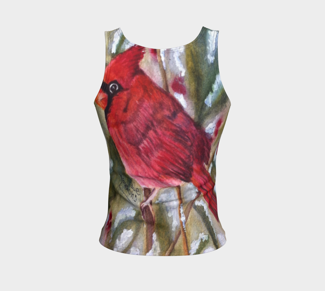 Red Cardinal Bird Fitted Tank Top 3D preview