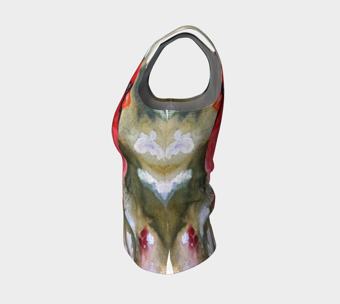 Red Cardinal Bird Fitted Tank Top preview #3