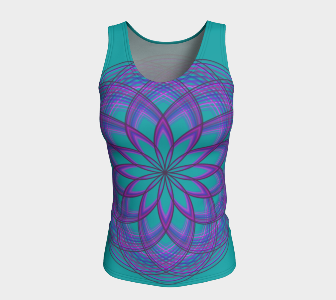 Purple Lotus Flower on Teal Fitted Tank Top  preview #5