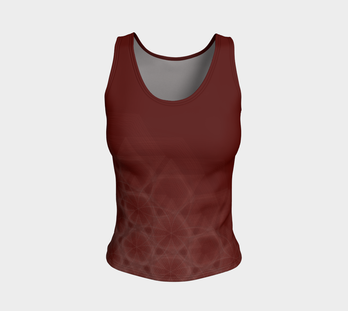 Hexagon Circles Cranberry Fitted Tank Top  preview