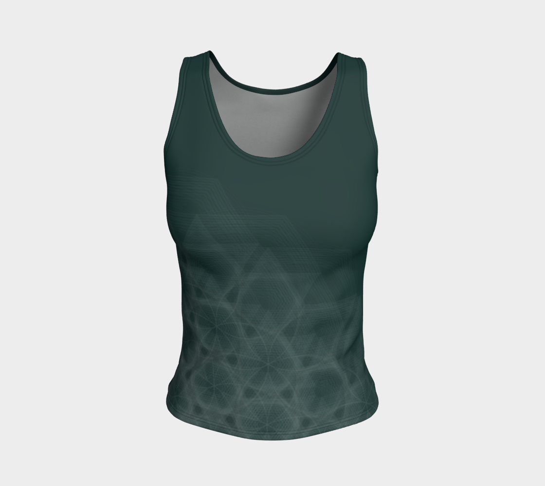Hexagon Circles Forest Green Fitted Tank Top  preview
