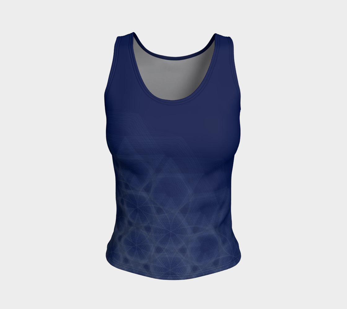 Hexagon Circles Royal Blue Fitted Tank Top  preview