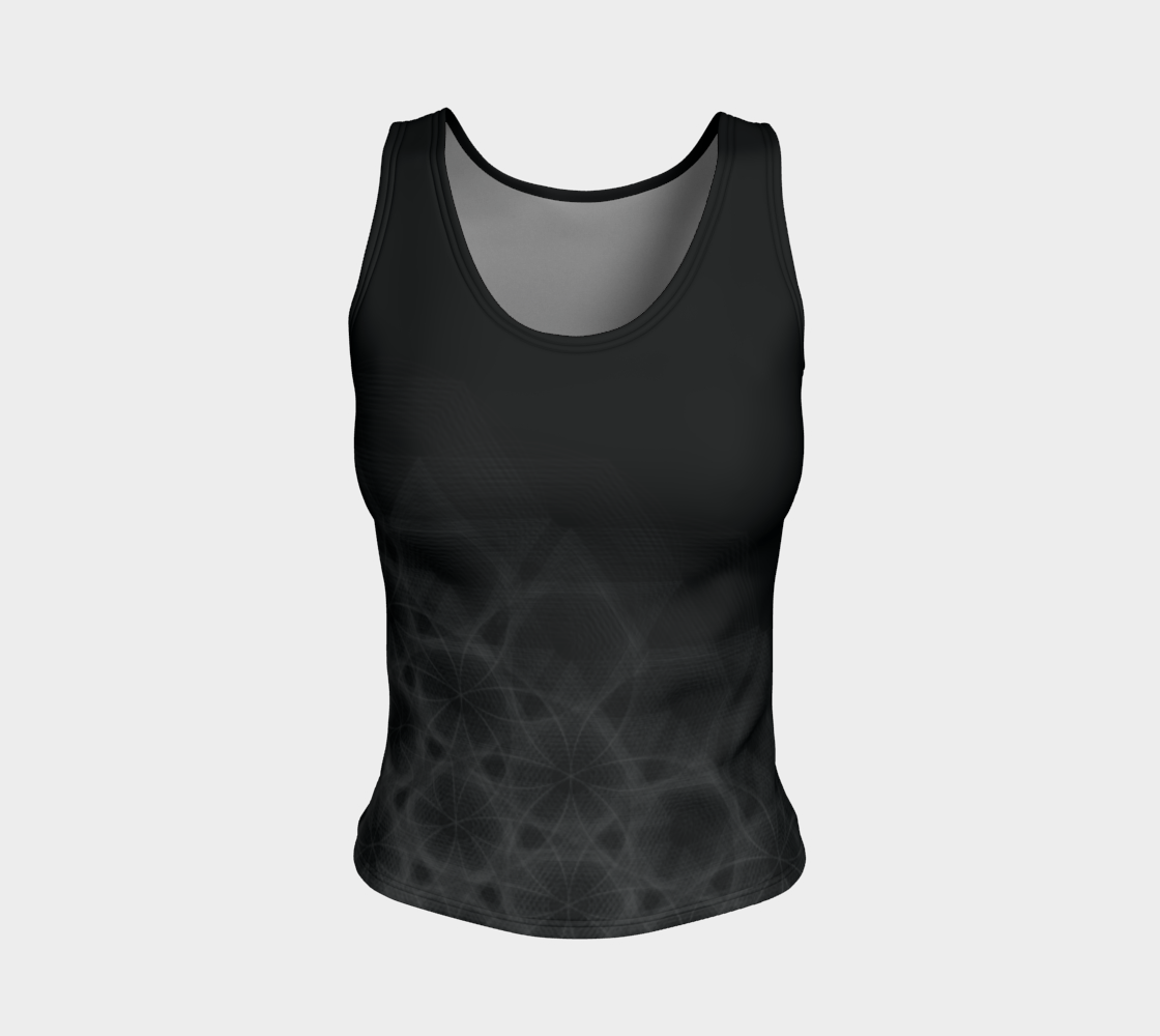 Hexagon Circles Black Fitted Tank Top  preview