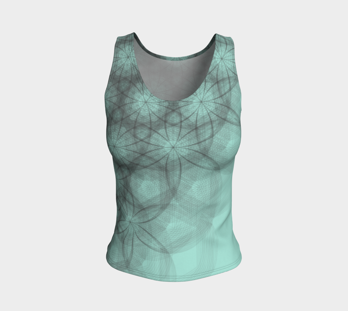 Flower Power Mint Fitted Tank Top  preview