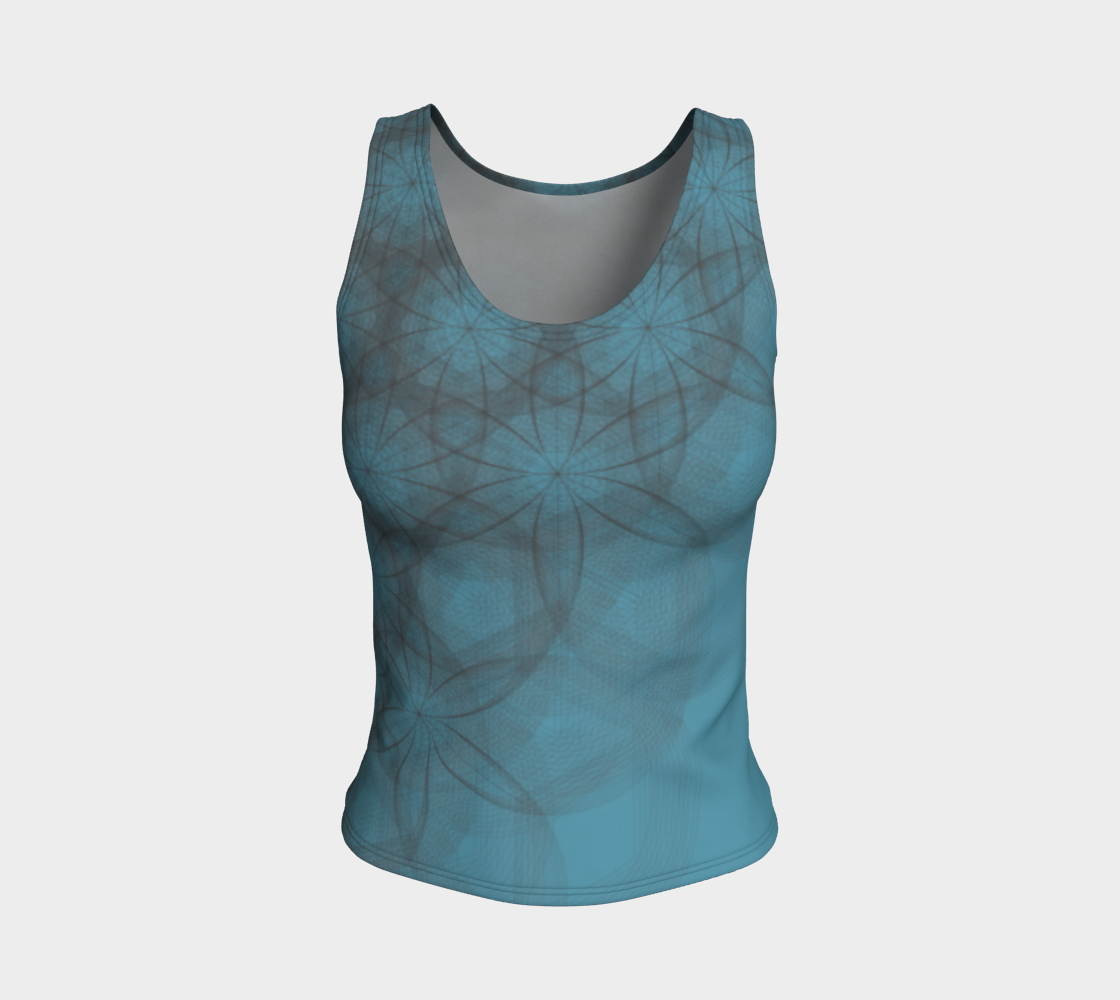 Flower Power Teal Fitted Tank Top  preview