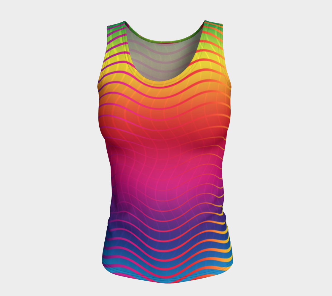 Rippled Rainbow Waves Fitted Tank Top preview #5