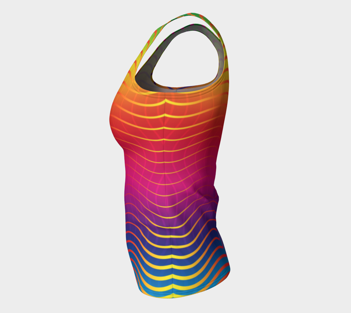 Rippled Rainbow Waves Fitted Tank Top preview #7