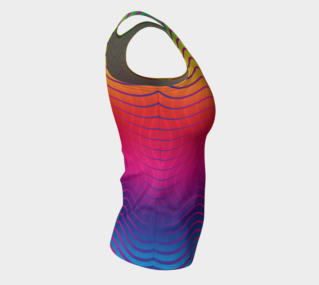 Rippled Rainbow Waves Fitted Tank Top preview #8