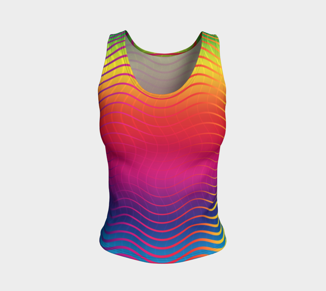 Rippled Rainbow Waves Fitted Tank Top preview #1