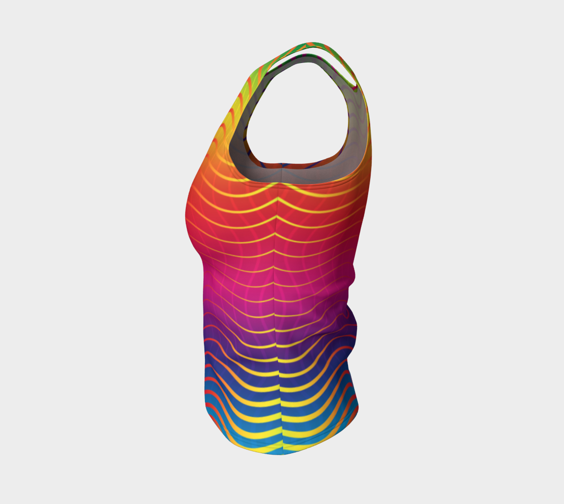 Rippled Rainbow Waves Fitted Tank Top preview #3