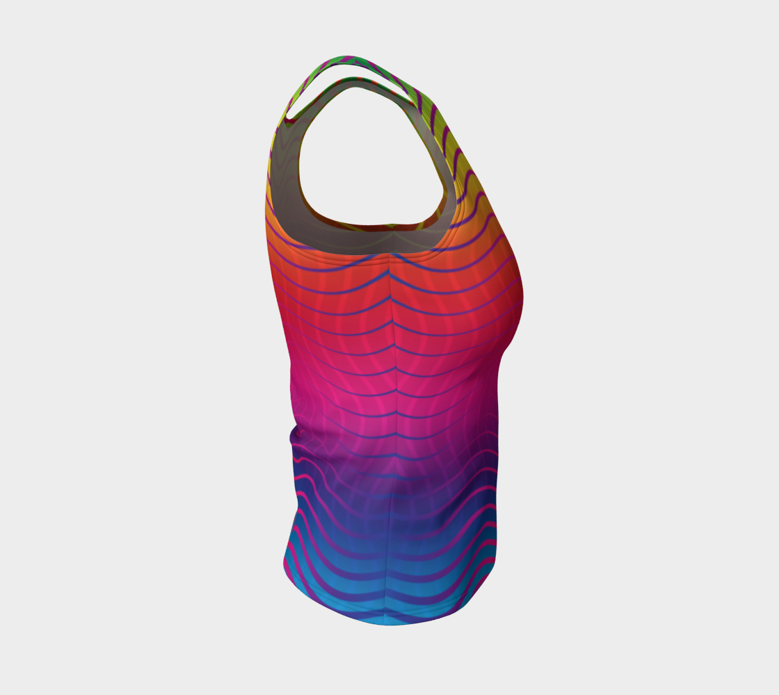 Rippled Rainbow Waves Fitted Tank Top preview #4
