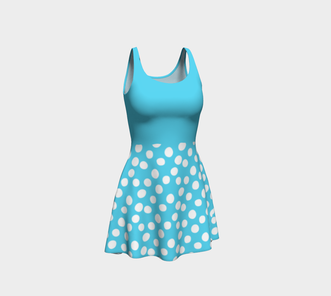 All About the Dots Flare Dress - Blue with Solid Blue Bodice preview