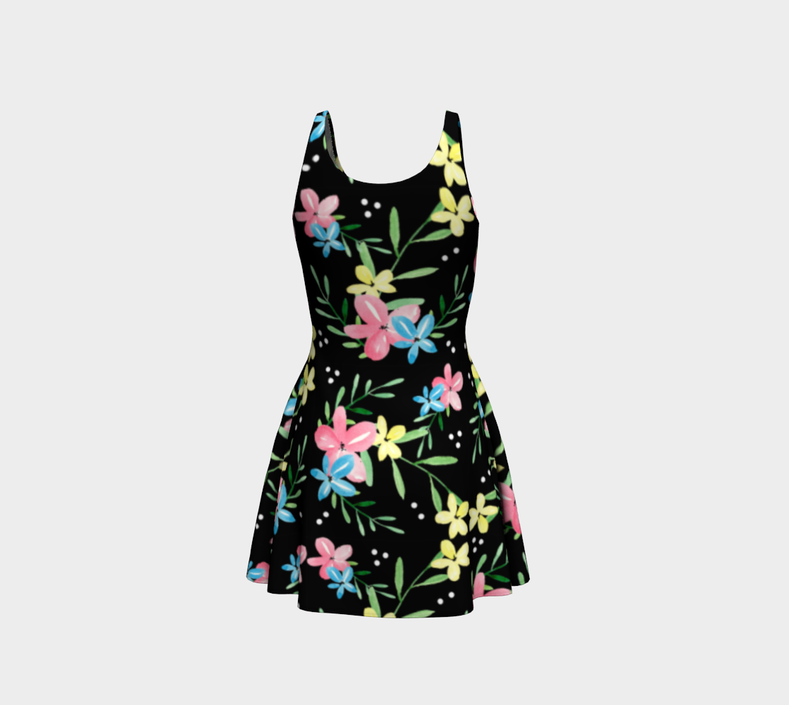 Floral Watercolor Flare Dress preview #3