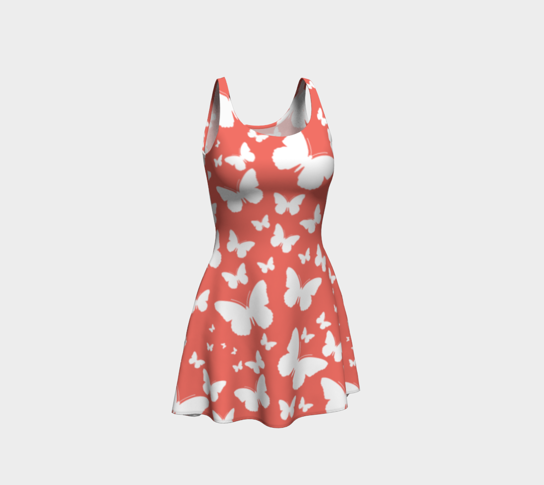 Butterflies in Coral and White Flare Dress preview