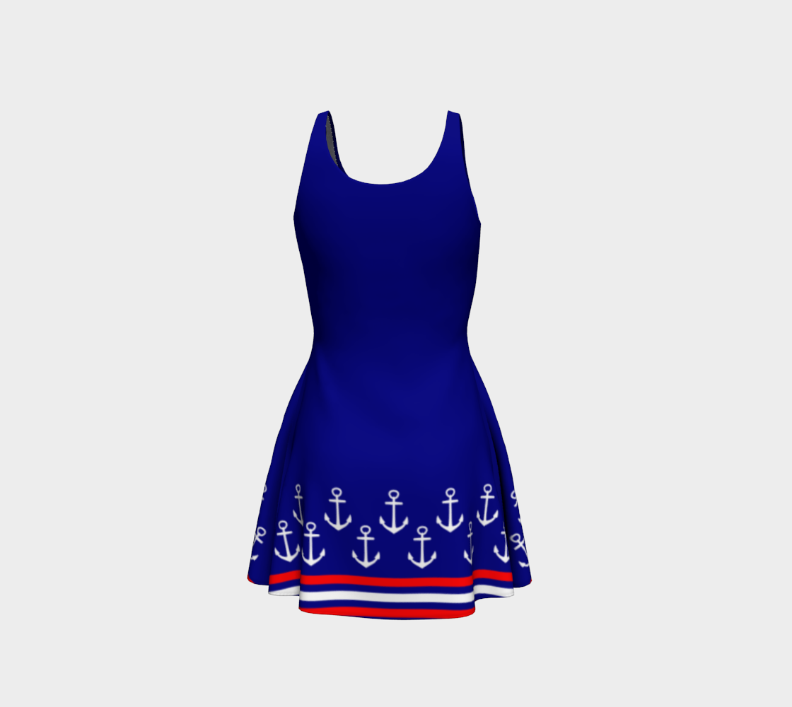 Blue and Red Nautical Stripe Anchor Flare Dress preview #3
