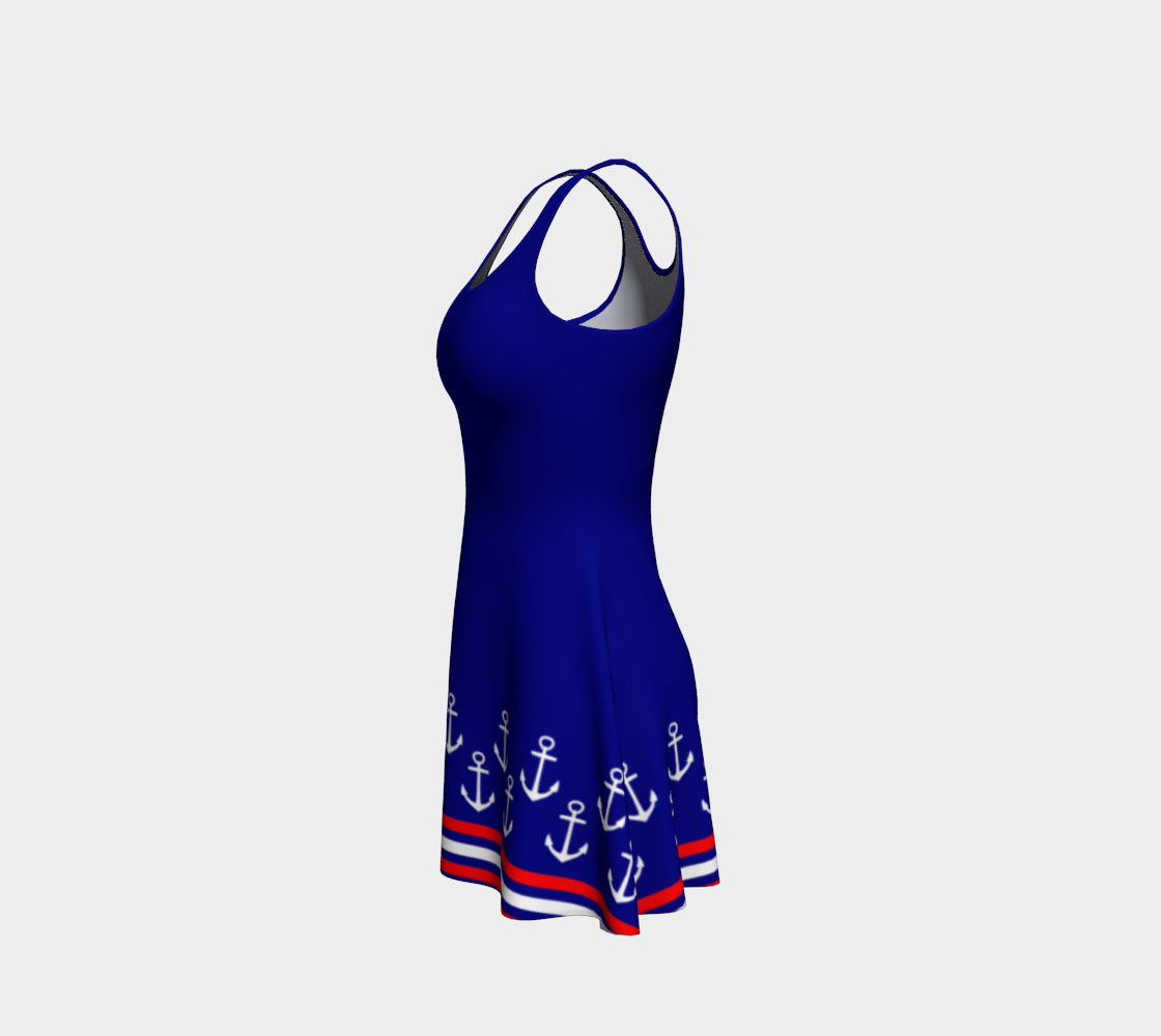Blue and Red Nautical Stripe Anchor Flare Dress preview #2