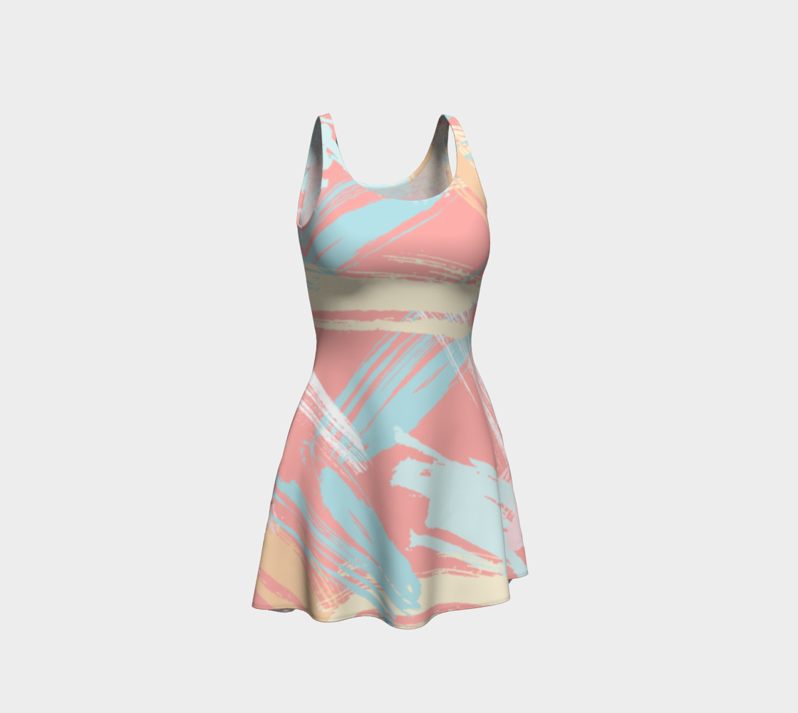 Pastel Abstract Brush Stroke Flare Dress preview
