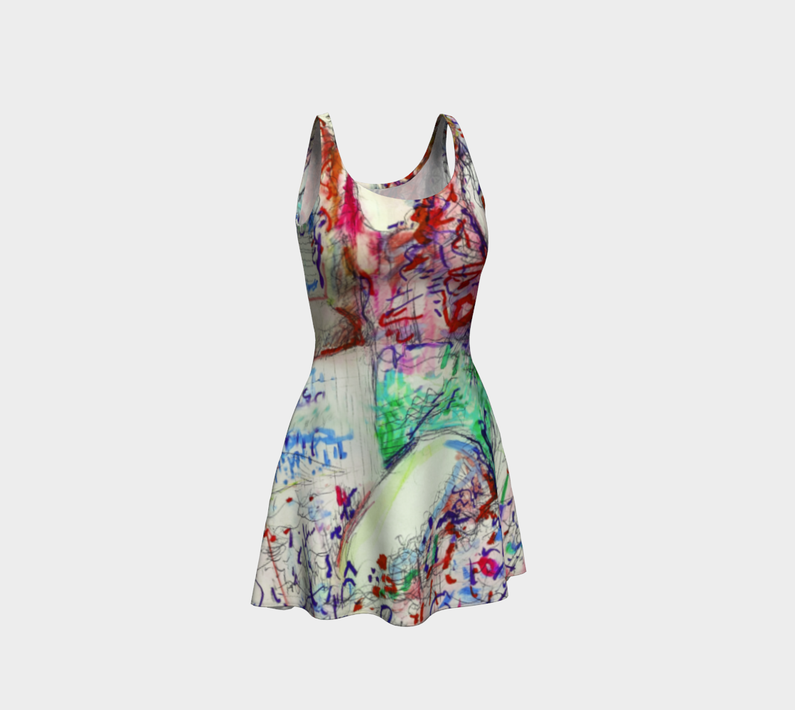 Here Comes The Sun / Talking-Girl Print Flare Dress preview