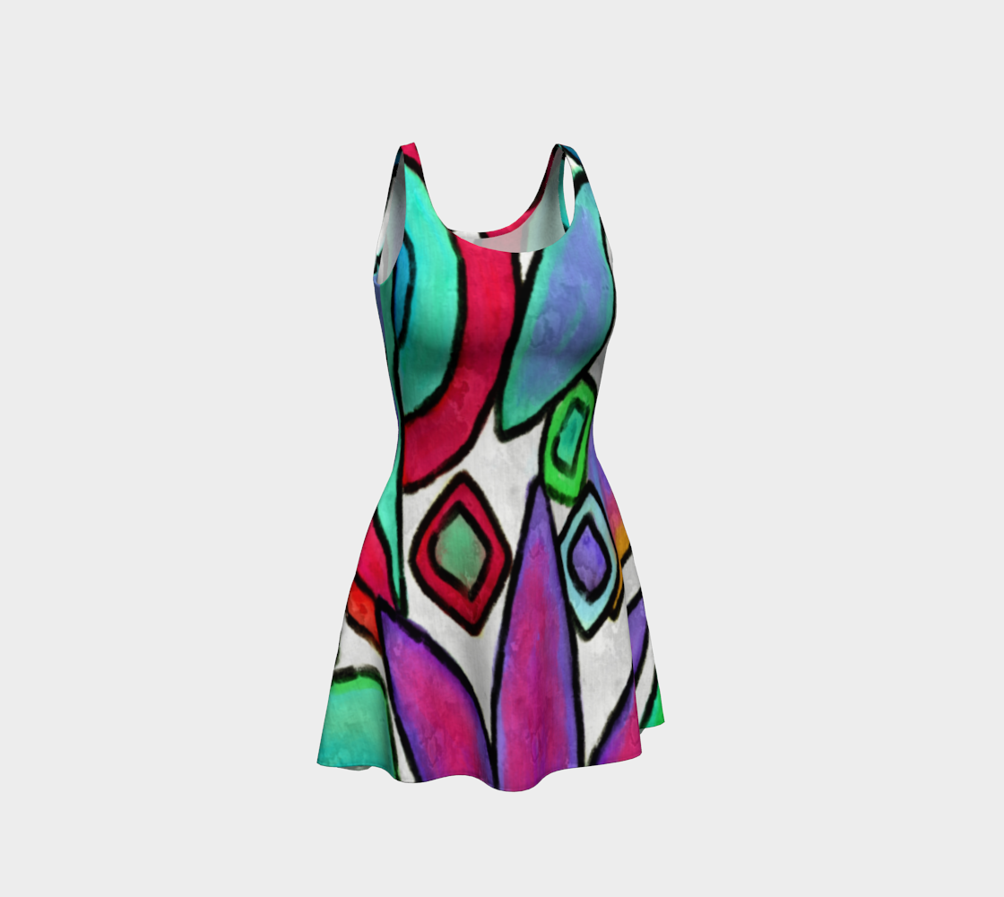 Funky Garden Abstract Digital Print Dress preview