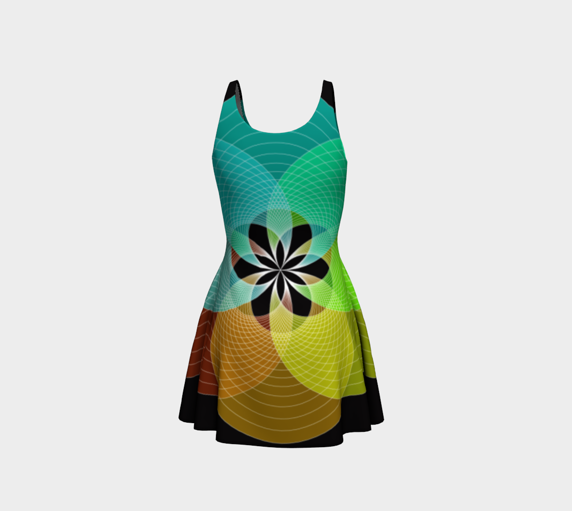 Focus Flower Teal and Yellow Flare Dress preview #3