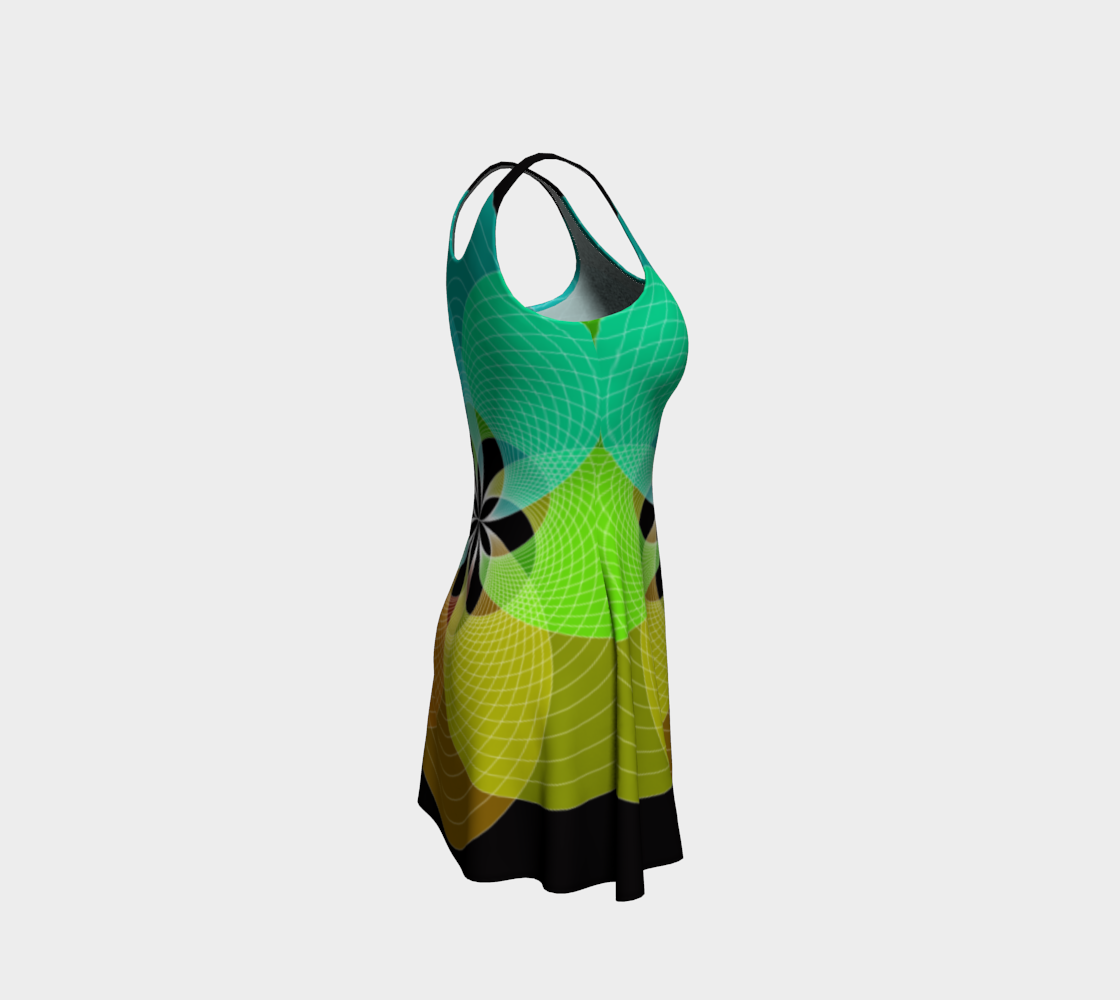 Focus Flower Teal and Yellow Flare Dress preview #4