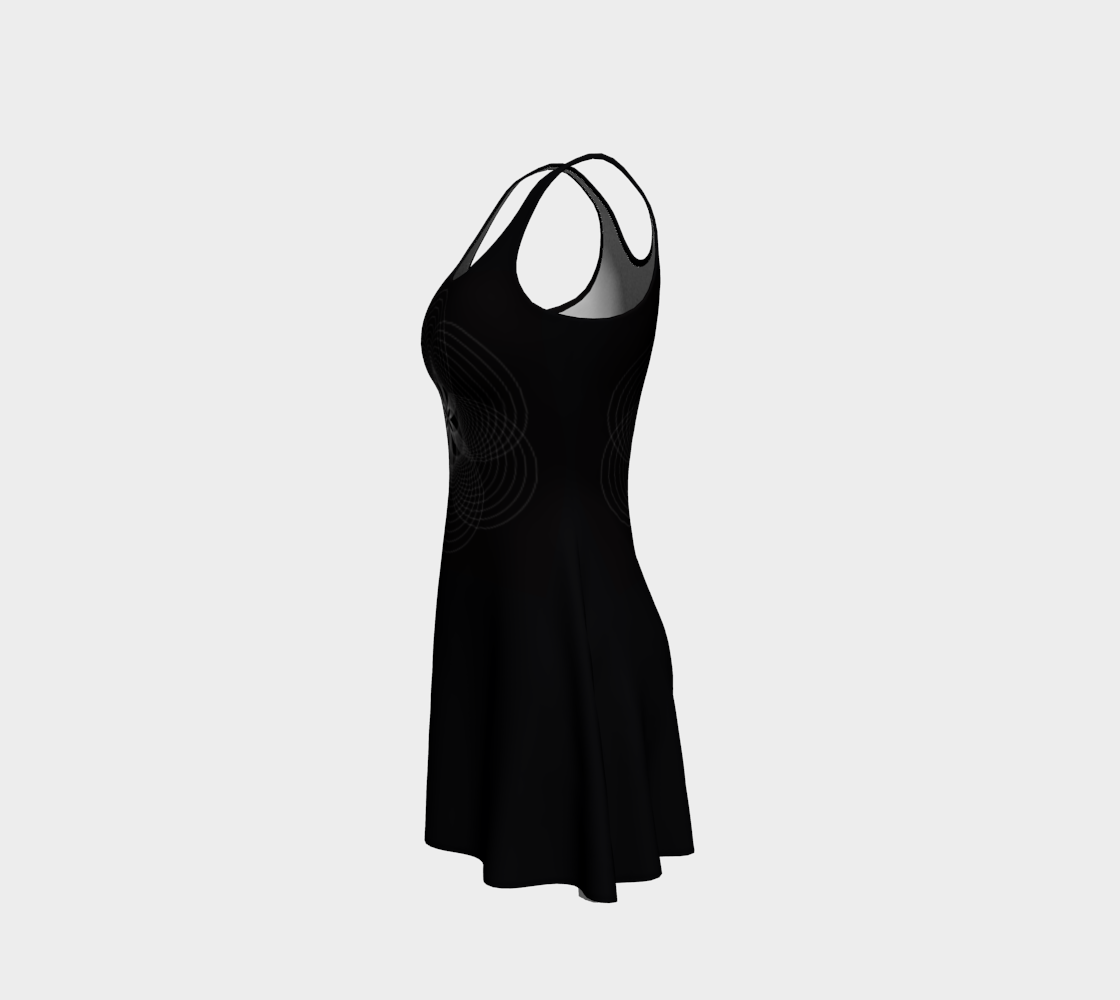 Focus Flower Black and White Flare Dress 2 preview #2