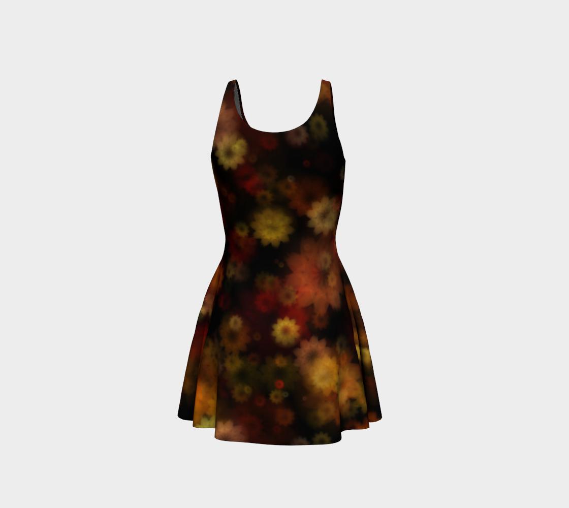 Aperçu de Moody Red Gold Floral Flare Dress #3