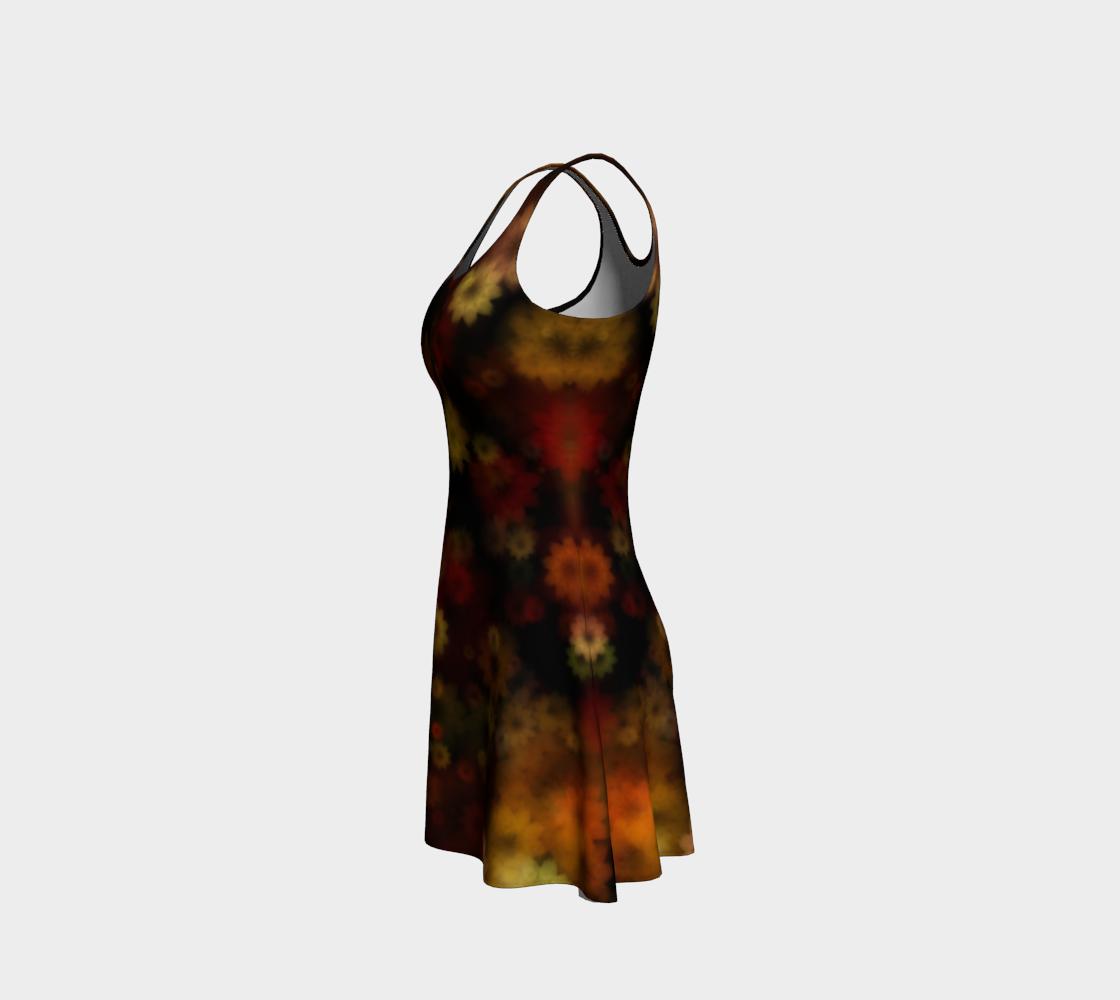 Aperçu de Moody Red Gold Floral Flare Dress #2